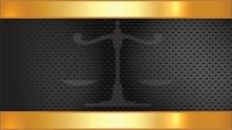 cartão de visita Advogado luxo: balança e dourado com preto