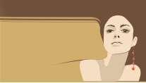 cartão de visita Cabeleireiros ilustrado: mulher e marrom