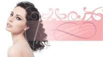 cartão de visita Cabelereiros estética: mulher arabesco cabelo-cacheado e branco