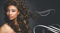 cartão de visita Cabeleireiros afro: mulher cabelo-cacheado arabesco