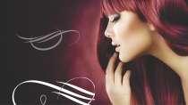 cartão de visita Cabeleireiros moderno: mulher ruiva cabelo-liso e vermelho