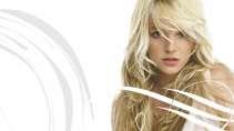cartão de visita Cabelereiros moderno: mulher loira cabelo-liso e branco