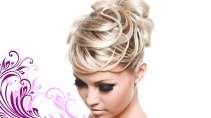 cartão de visita Cabeleireiros moderno: mulher loira cabelo-liso arabesco e branco