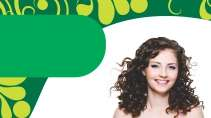 cartão de visita Cabelereiros criativo: mulher cabelo-cacheado e verde com branco