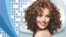 cartão de visita Cabelereiros moderno: mulher cabelo-cacheado e azul