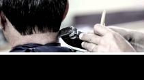 cartão de visita Cabeleireiros masculino: barbeiro homem máquina e preto