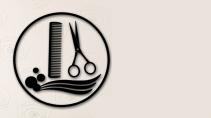 cartão de visita Cabeleireiros masculino: tesoura pente e cinza
