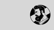 cartão de visita Cabeleireiros masculino: homem barba barbeiro e cinza