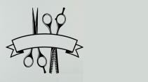 cartão de visita Cabeleireiros masculino: tesoura e cinza