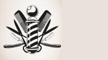 cartão de visita Cabeleireiros masculino: tesoura pente navalha e cinza