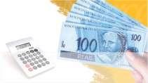 cartão de visita Contabilidade monetário: dinheiro calculadora e amarelo com branco