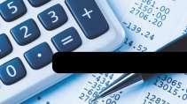 cartão de visita Contabilidade cálculo: calculadora e azul