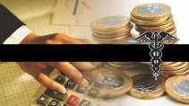 cartão de visita Contabilidade monetário: mão simbolo moedas calculadora e amarelo