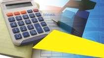 cartão de visita Contabilidade cálculo: calculadora caneta e azul com amarelo
