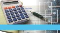cartão de visita Contabilidade cálculo: calculadora caneta e azul