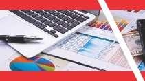 cartão de visita Contabilidade moderno: notebook caneta gráfico papel e vermelho