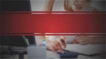 cartão de visita Contabilidade escritório: calculadora papel e vermelho