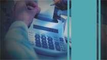 cartão de visita Contabilidade escritório: calculadora e azul