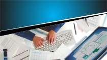 cartão de visita Contabilidade escritório: computador mão teclado e azul com branco