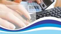 cartão de visita Contabilidade cálculo: calculadora mão teclado e azul