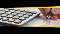 cartão de visita Contabilidade cálculo: calculadora caneta papel e preto