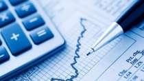 cartão de visita Contabilidade cálculo: calculadora papel caneta e azul com branco