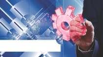 cartão de visita Engenharia produção: engrenagem e azul