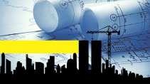 cartão de visita Engenharia civil: mapa prédios e amarelo com azul