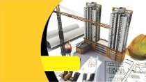 cartão de visita Engenharia civil: prédios e amarelo