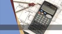 cartão de visita Engenharia cartográfica: calculadora compasso e azul com branco