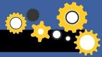 cartão de visita Engenharia mecânica: engrenagem e amarelo com azul