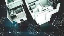cartão de visita Engenharia arquitetura: projeto planta casa e preto