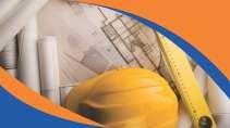 cartão de visita Engenharia segurança: capacete trena e laranja