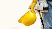 cartão de visita Engenharia segurança: capacete e amarelo com branco