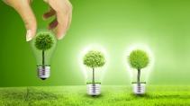 cartão de visita Engenharia ambiental: lampada arvore e verde