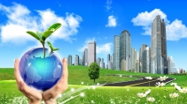 cartão de visita Engenharia ambiental: globo árvore prédios e verde