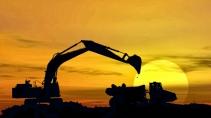 cartão de visita Engenharia minas: retroescavadeira mineração metalúrgica e laranja