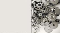 cartão de visita Engenharia mecânica: engrenagem e cinza
