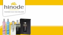 cartão de visita Hinode luxo: perfumes e amarelo com branco