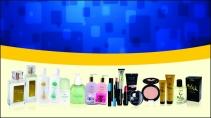 cartão de visita Hinode moderno: perfumes geométrico e amarelo com azul
