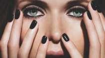 cartão de visita Manicure makeup: olhos e preto