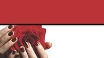 cartão de visita Manicure criativo: flor e vermelho