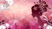 cartão de visita Mary Kay ilustrado: mulher flor e lilás