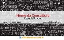 cartão de visita Mary Kay criativo: love e preto