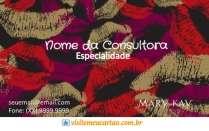 cartão de visita Mary Kay ilustrado: boca batom e vermelho com preto