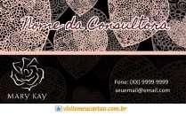 cartão de visita Mary Kay criativo: coração e preto com rosa