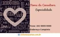 cartão de visita Mary Kay ilustrado: coração love e rosa com preto