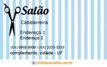 cartão de visita Cabeleireiros tradicional: tesoura listras e azul
