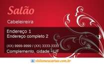 cartão de visita Cabelereiros estética: arabesco e vermelho