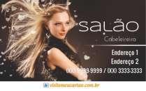 cartão de visita Cabelereiros moderno: mulher loira cabelo-liso e fundo cinza